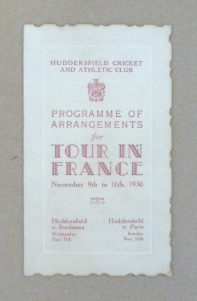 Tour in France programme, 1936
