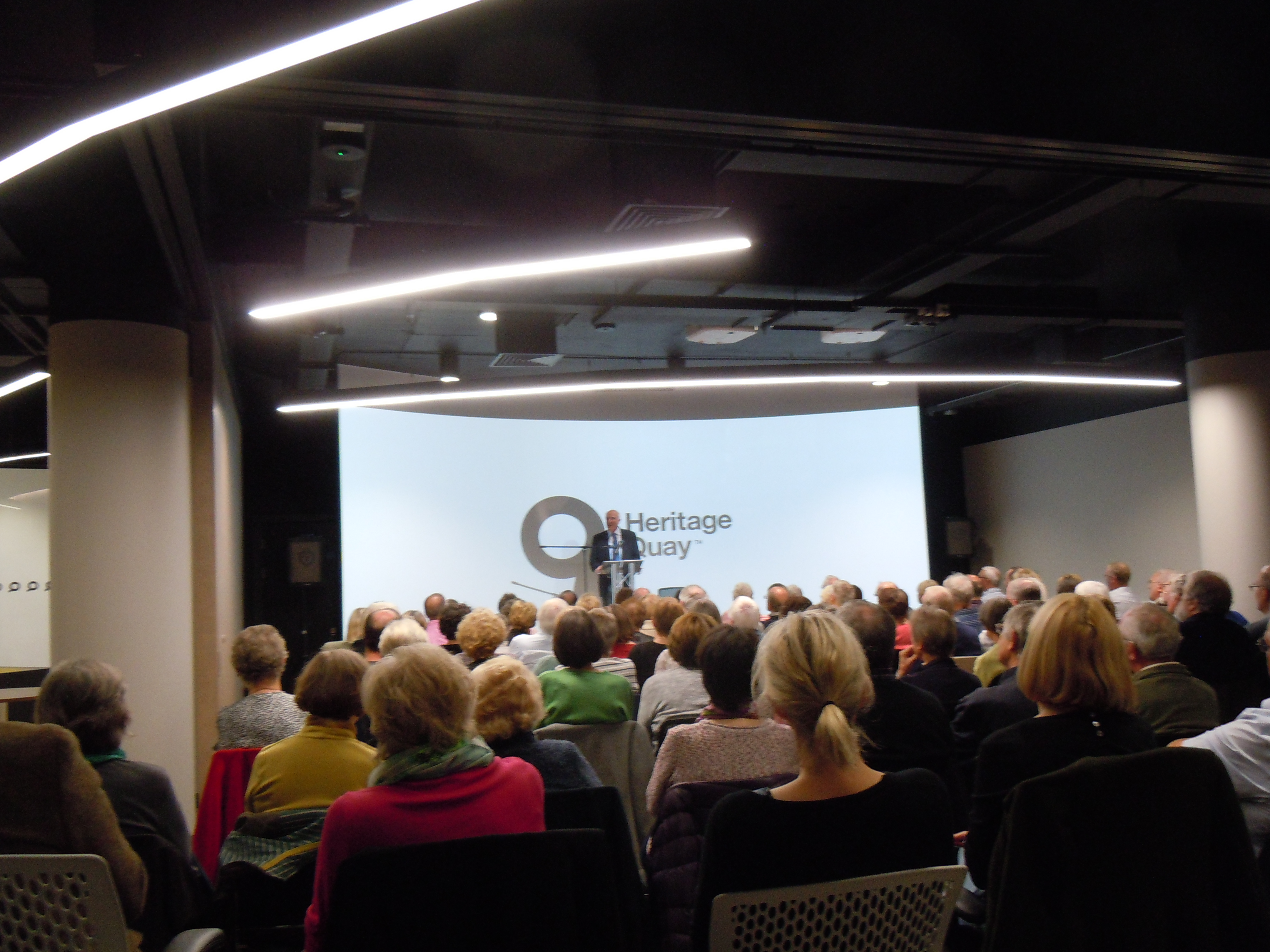 Lord Baron David Clark addresses a packed house at the first HLHS talk of the season.  Photo courtesy of Hilary Haigh, HLHS Secretary.