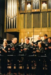 BBC Singers performing at Huddersfield Town Hall, HCMF 2003.