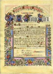 Illuminated certificate presented to Mr George Allen, Leeds First Primitive Methodist Circuit, 1887.