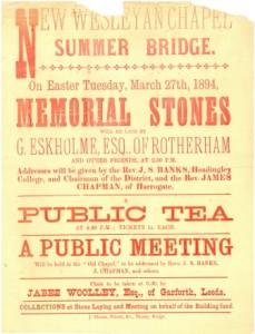 Summer Bridge Chapel, Easter Tuesday 1894 meeting poster