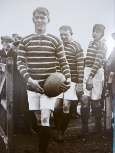 Harold Wagstaff leads out Huddersfield Rugby League team, 1909.