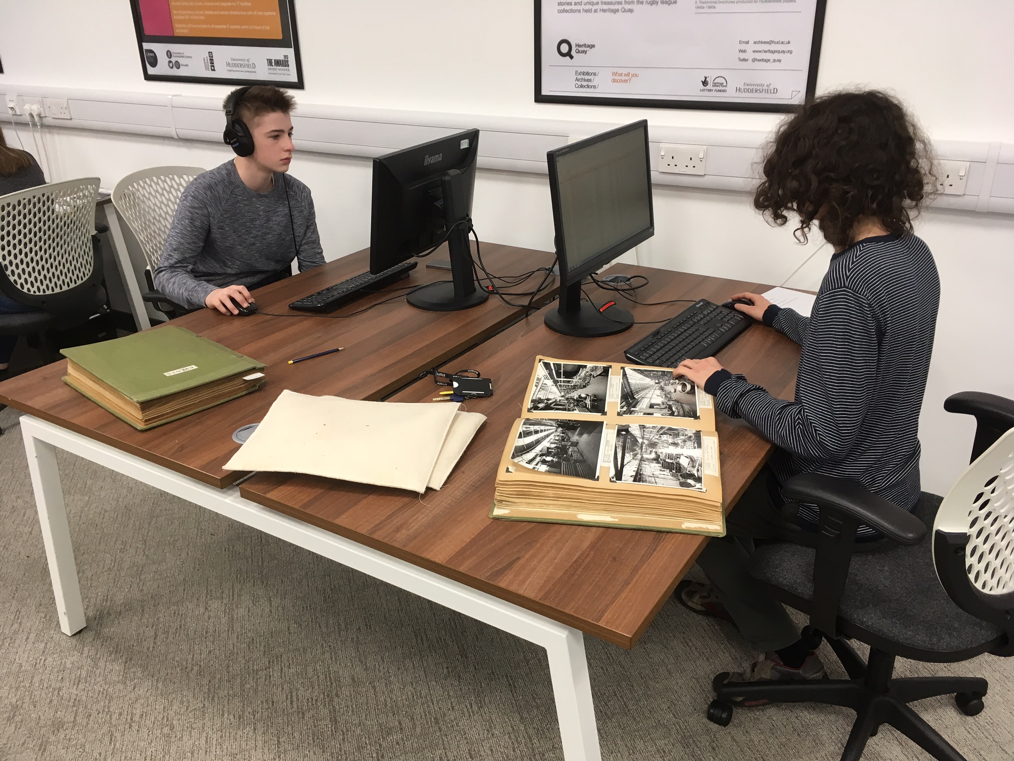 Tom and Joe hard at work in the archives