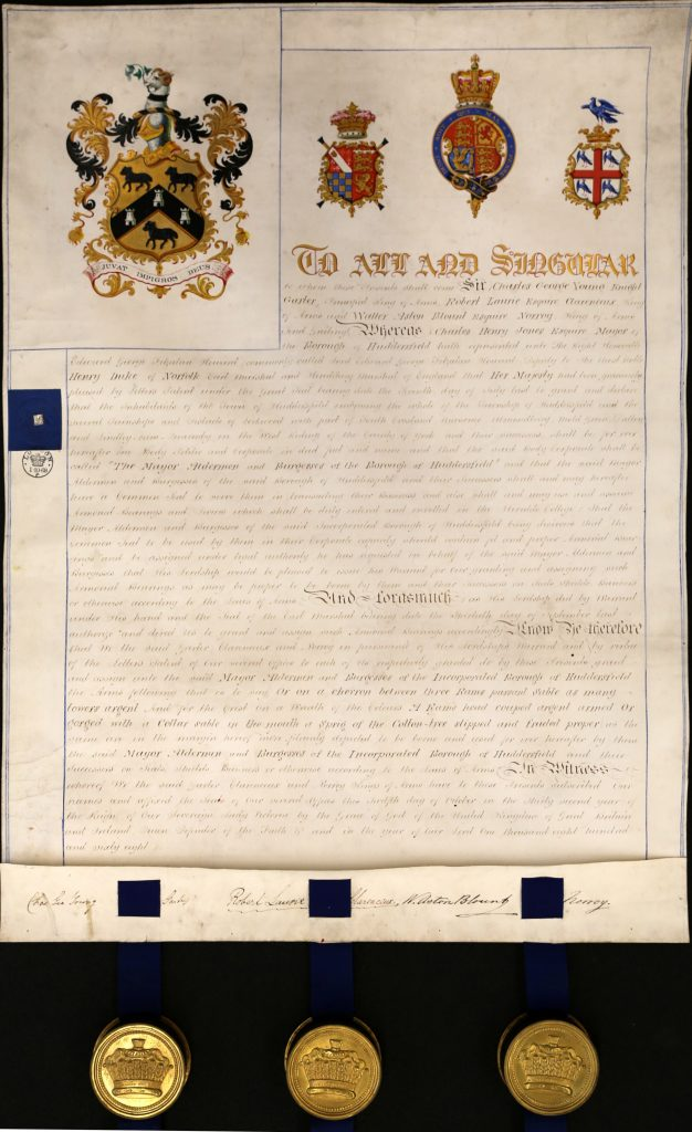 Huddersfield Grant of Arms, 1868
