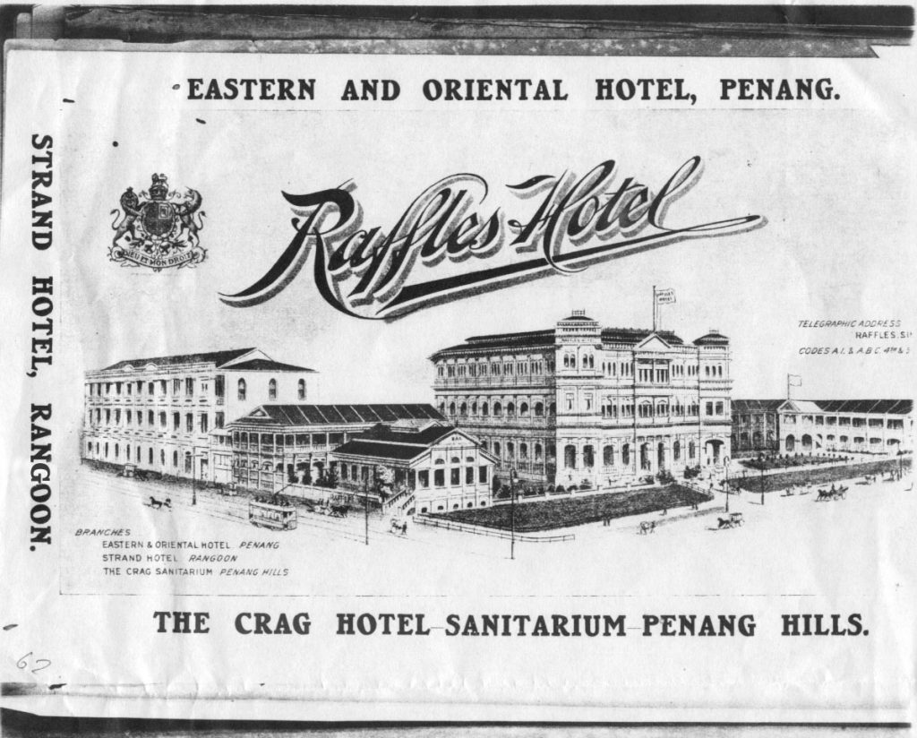 An advert for the Raffles Hotel, Singapore