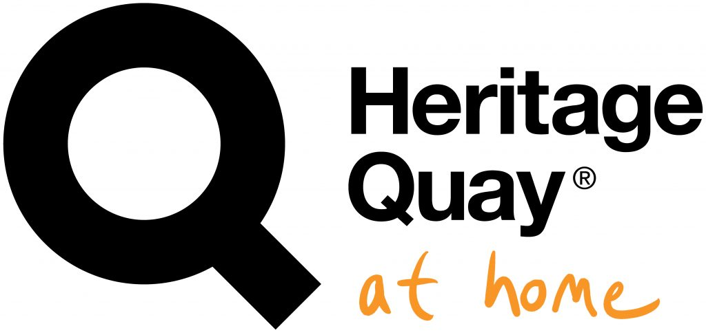 "Logo, text  reads ""Heritage Quay at Home"""