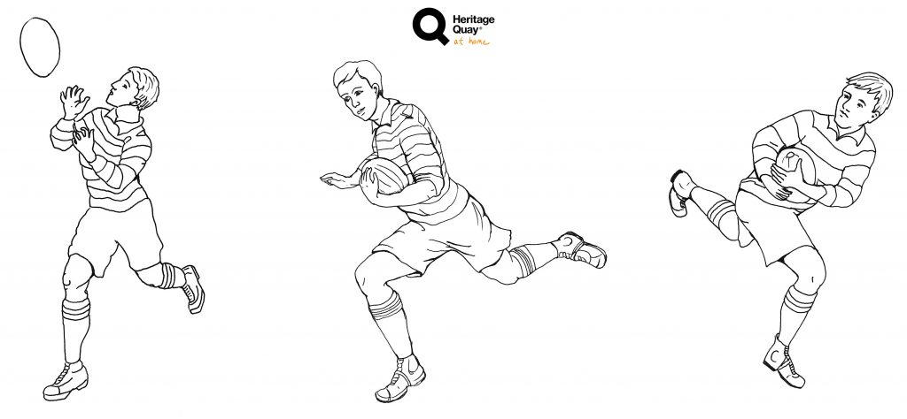 Drawings of old fashioned Rubgy League kits from 1922